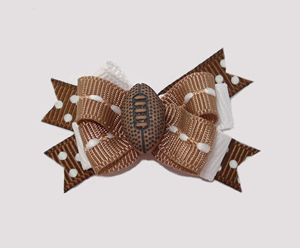 #BTQM050 - Mini Boutique Dog Bow Sporty Football