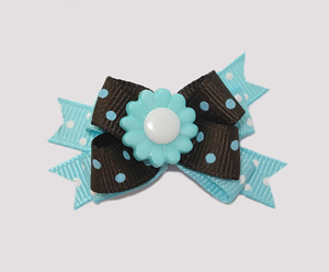 #BTQM060 - Mini Boutique Dog Bow Blueberry 'n Chocolate