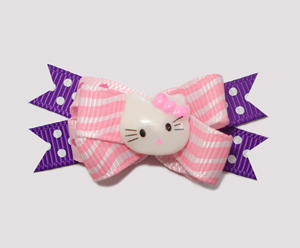 #BTQM154 - Mini Boutique Dog Bow Hello Little Kitty on Purple