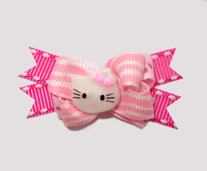 #BTQM156 - Mini Boutique Dog Bow Hello Little Kitty on Pink