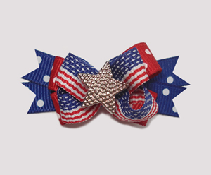 #BTQM250 - Mini Boutique Dog Bow Patriotic Star