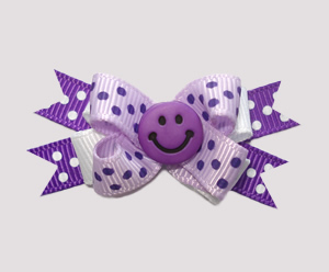#BTQM254 - Mini Boutique Dog Bow Pretty Happy In Purple
