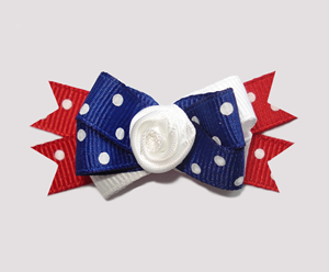 #BTQM320 - Mini Boutique Dog Bow Classic Red, White & Blue