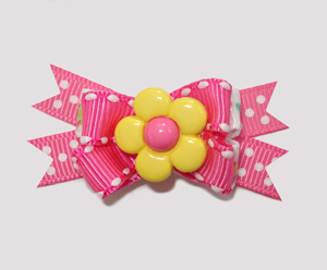 #BTQM350 - Mini Boutique Dog Bow Flower Power, Pink/Yellow