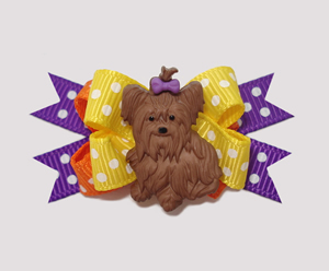 #BTQM410 - Mini Boutique Dog Bow Yorkie Love, Happy Dots