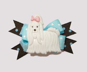 #BTQM420 - Mini Boutique Dog Bow Maltese Love, Blue/Chocolate