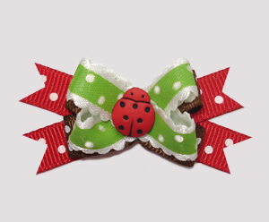 #BTQM460 - Mini Boutique Dog Bow Country Cottage Ladybug