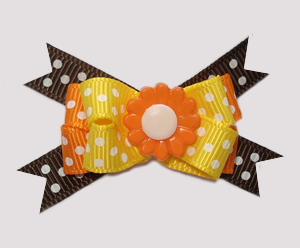 #BTQM550- Mini Boutique Dog Bow Autumn Dots