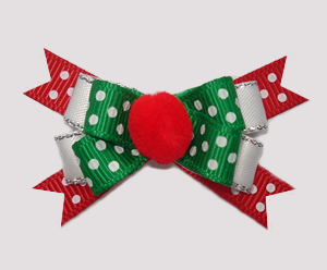 #BTQM570 - Mini Boutique Dog Bow Festive Dots, Pom Pom