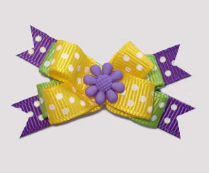 #BTQM600 - Mini Boutique Dog Bow Happy Dots, Purple Flower