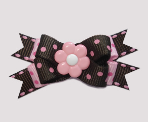 #BTQM610 - Mini Boutique Bow Chocolate/Pink Dots, Pink Flower