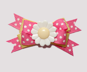 #BTQM650- Mini Boutique Dog Bow Sweet Spring Daisy Dots, Pink
