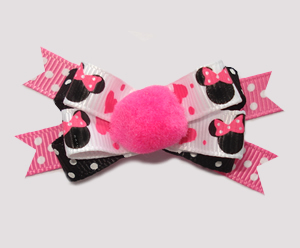 #BTQM670 - Mini Boutique Dog Bow Minnie Mouse Pom Pom, Pink