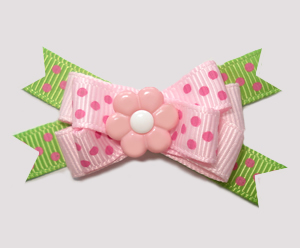 #BTQM690- Mini Boutique Dog Bow Pretty Pink Petals, Pink/Lime
