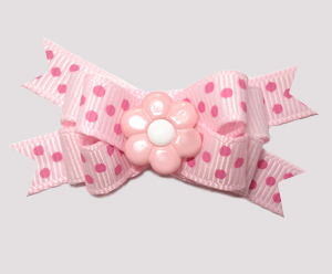 #BTQM710 - Mini Boutique Bow Delightfully Dotty Daisy, Pink