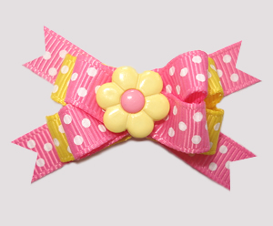 #BTQM730 - Mini Boutique Bow Spring Daisy Dots, Pink/Yellow