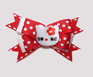 #BTQM790- Mini Boutique Dog Bow Hello Little Kitty, Red/White
