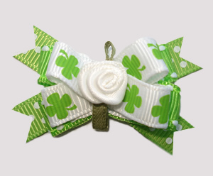 #BTQM794 - Mini Boutique Dog Bow St. Patrick's Shamrocks