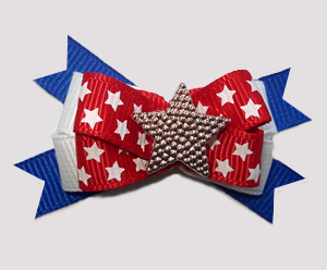 #BTQM796 - Mini Boutique Dog Bow Red, White 'n Blue, Stars