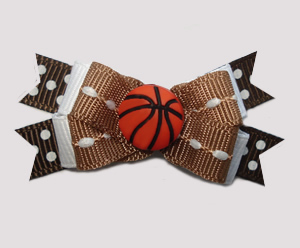 #BTQM798 - Mini Boutique Dog Bow Sporty Basketball