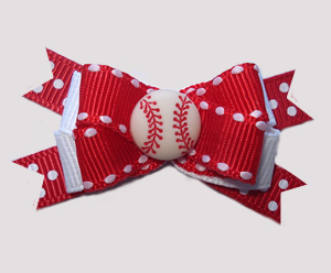 #BTQM800 - Mini Boutique Dog Bow Sporty Baseball