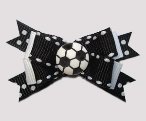 #BTQM802 - Mini Boutique Dog Bow Sporty Soccer Ball