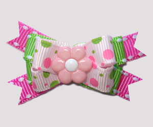 #BTQM806- Mini Boutique Bow Pink/Lime Bubble Dots, Pink Daisy