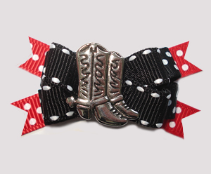 BTQM808 - Mini Boutique Dog Bow - Country/Western Boots, Red