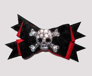 #BTQM812 - Mini Boutique Dog Bow Bling Rhinestone Skull