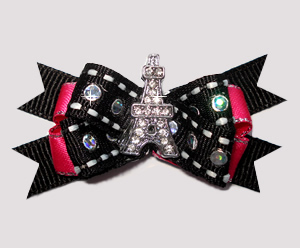 #BTQM816- Mini Boutique Dog Bow Parisian Pizzazz Eiffel Tower