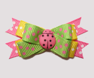 #BTQM826 - Mini Boutique Dog Bow Pretty Pink Ladybug