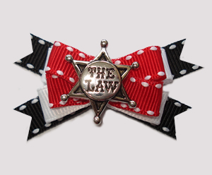 "#BTQM828 - Mini Boutique Dog Bow Sheriff's Star, ""The Law"""