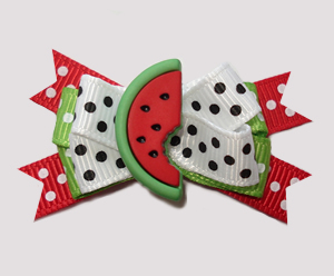 #BTQM830- Mini Boutique Dog Bow Sweet Watermelon, Red