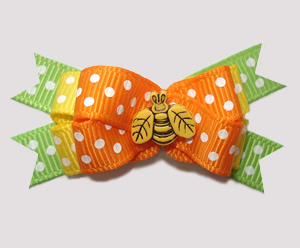 #BTQM834 - Mini Boutique Bow Little Spring Bee, Orange/Green