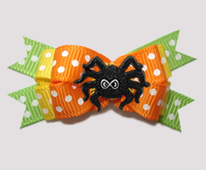 #BTQM844 - Mini Boutique Bow Halloween Spider, Orange/Green
