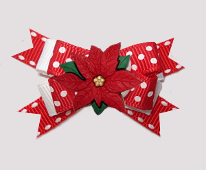 #BTQM846- Mini Boutique Dog Bow Red Sprinkle Dots, Poinsettia