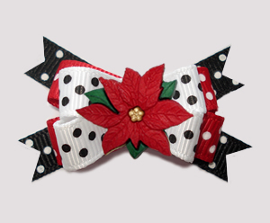#BTQM847 - Mini Boutique Dog Bow Classic Holiday Poinsettia