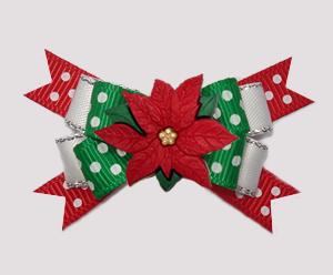 #BTQM848 - Mini Boutique Dog Bow Holiday Dots, Poinsettia