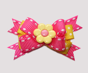 #BTQM849 - Mini Boutique Bow Pop Of Pink, Yellow/Pink Daisy