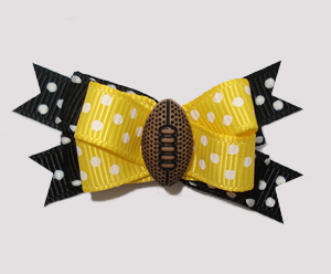 #BTQM850- Mini Boutique Dog Bow Sporty Football, Yellow/Black
