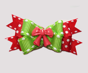 #BTQM851 - Mini Boutique Dog Bow Holiday Bow, Red/Green
