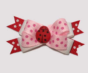 #BTQM855 - Mini Boutique Dog Bow Pretty In Pink, Ladybug Dots