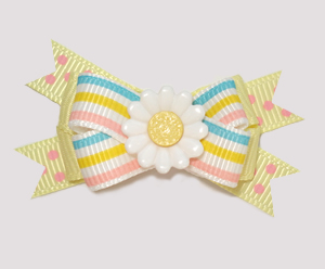 #BTQM856 - Mini Boutique Dog Bow Pretty Pastels with Daisy