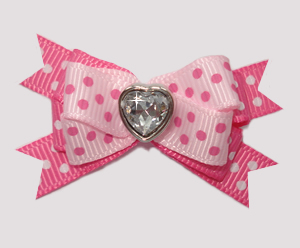 #BTQM857 - Mini Boutique Dog Bow Pink Sweetheart Dots, Heart