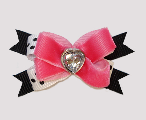 #BTQM858- Mini Boutique Bow Gorgeous Pink Velvet/Black, Heart