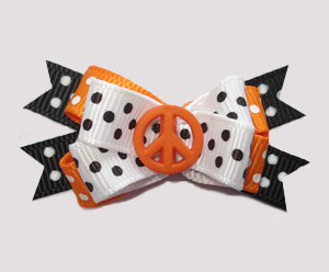 #BTQM859 - Mini Boutique Dog Bow Peace Out in this Cool Bow