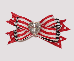 #BTQM860- Mini Boutique Bow Classic Stripes, Red/Black, Heart