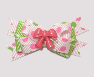 #BTQM861 - Mini Boutique Dog Bow Pretty Bow, Pink/Lime Dots