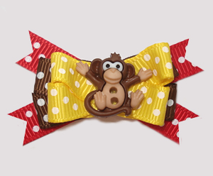 #BTQM865 - Mini Boutique Dog Bow Just Monkeying Around