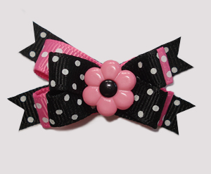 #BTQM869 - Mini Boutique Bow Daisy Dots, Pink/Black